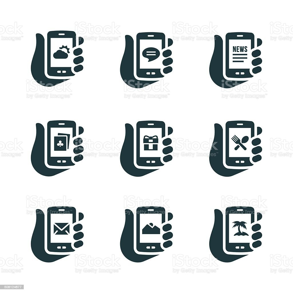 Smartphone Capabilities Icons vector art illustration