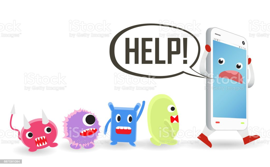 Smartphone Cartoon Need Help From Virus Computer Attack Stock Vector ...