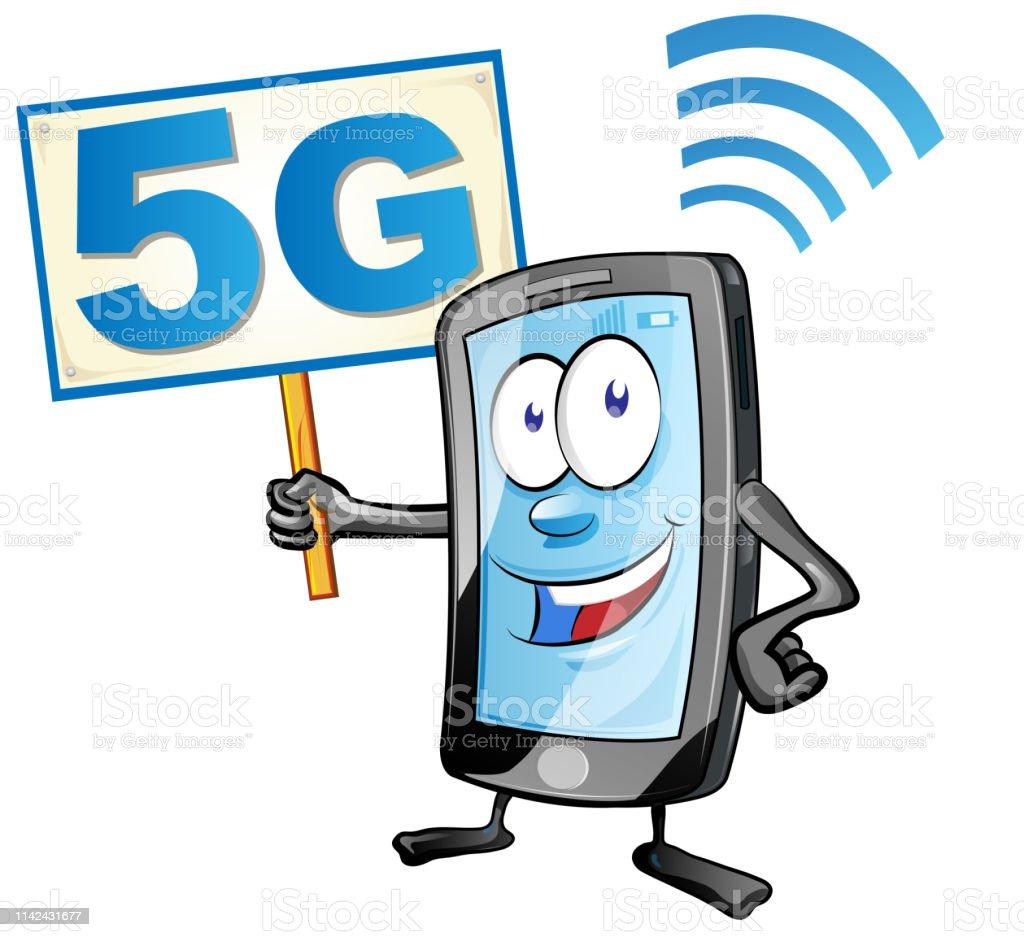 Smartphone Cartoon Met Bord 5g Icoon Clipart Vector Illustratie Stockvectorkunst En Meer Beelden Van 5g Istock