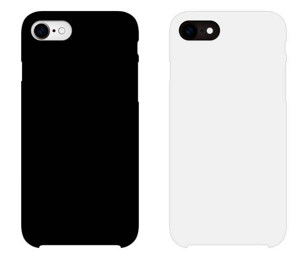 Smartphone case mockup template illustration (white/black) Smartphone case mockup template illustration (white/black) back stock illustrations