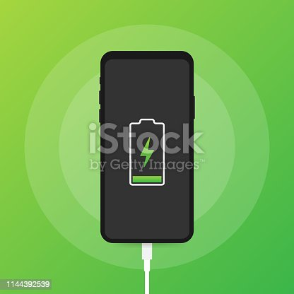 istock Smartphone charger adapter and electric socket, low battery notification. Vector illustration. 1144392539