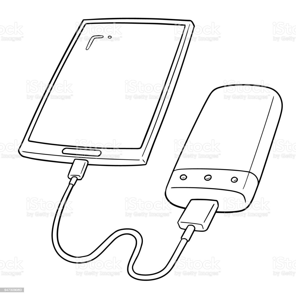 royalty free smart phone charging using power bank clip
