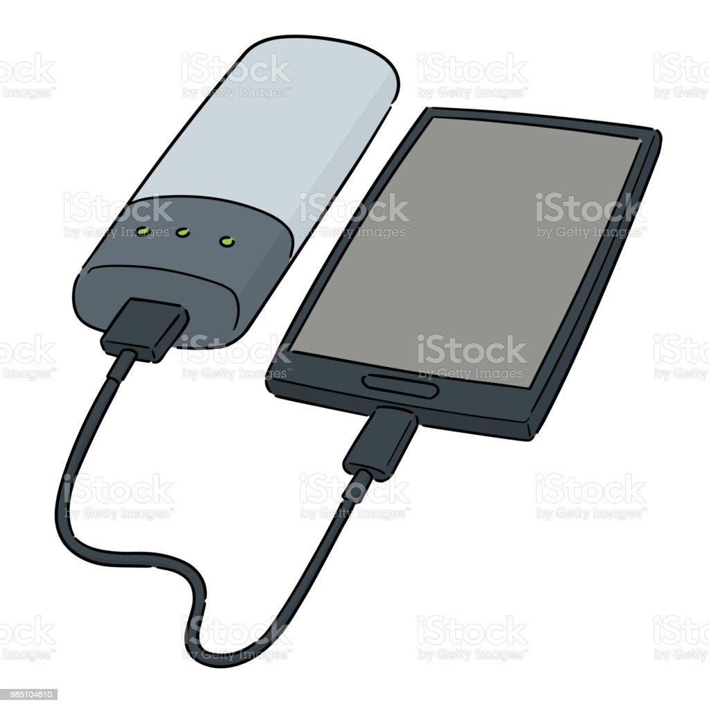 Smartphone Aufladen Ber Powerbank Stock Vektor Art Und Mehr Bilder Kabel Power Bank Lizenzfreies