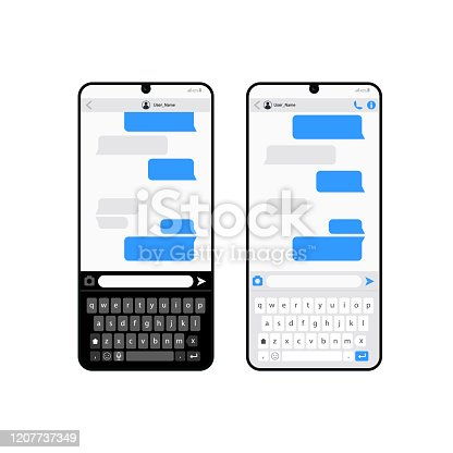 Smartphone chatting sms app template bubbles, black and white theme. Place your own text to the message clouds. Compose dialogues using samples bubbles! Eps 10 format