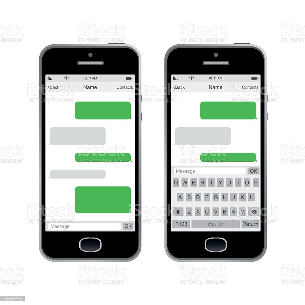 Smartphone chatting SMS Messages speech Bubbles. Vector Illustration vector art illustration