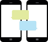 Smartphone chatting SMS Messages speech Bubbles. Vector Illustration - Illustration