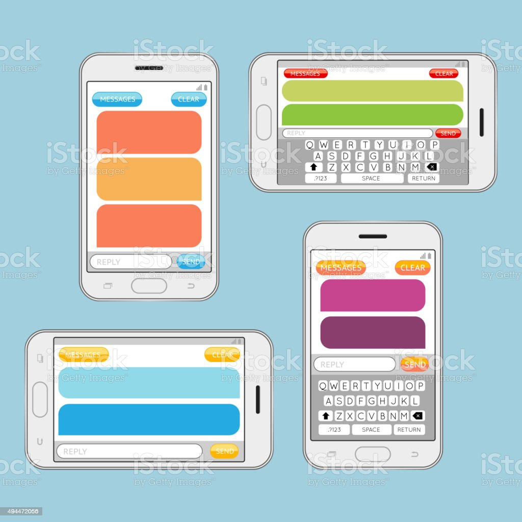 smartphone chatting sms messages speech bubbles vector template