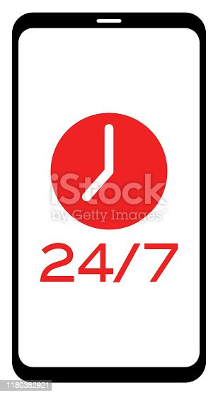 Clock and 24/7 text on mobile phone