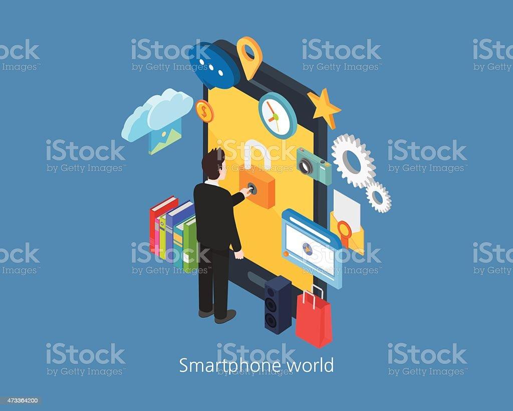 Smartphone design 3d Isométrique monde et homme d'affaires - Illustration vectorielle