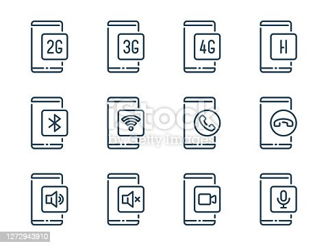 Smartphone connection functions related vector line icons. Mobile phone services outline icon set.