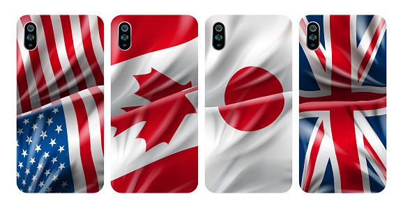 Smartphone cover, USA flag colored case