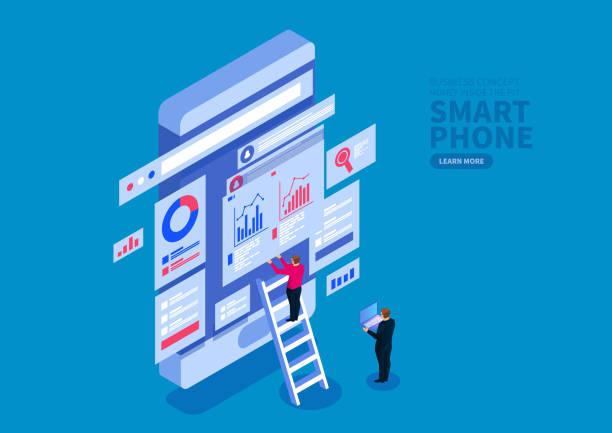 Smartphone-Datenoptimierung und Web-Services, Finanztransaktionen, Mobile Banking – Vektorgrafik