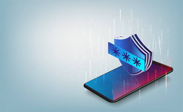 Smartphone data protection, smartphone with shield, data safety isometric Smartphone data protection, antivirus software stock illustrations