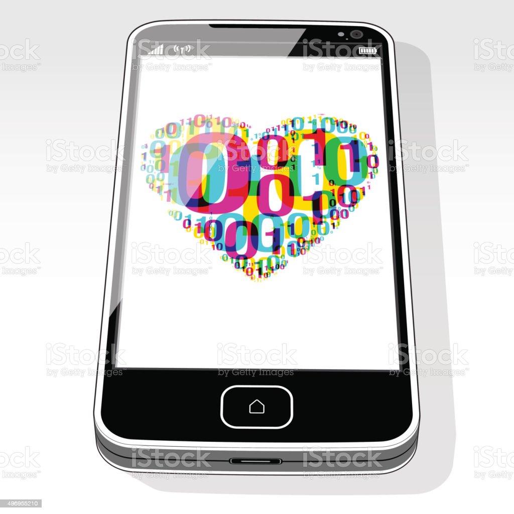 SmartPhone Digital Love vector art illustration