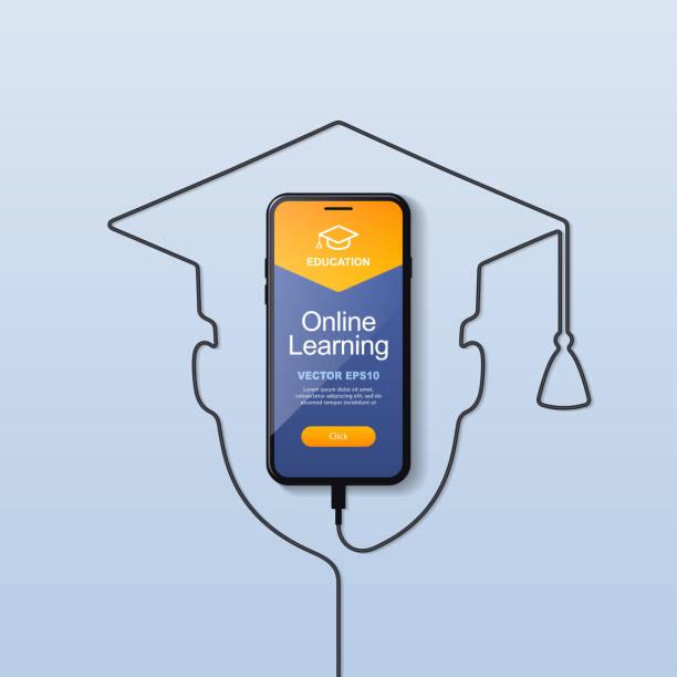 illustrazioni stock, clip art, cartoni animati e icone di tendenza di smartphone education - didattica a distanza