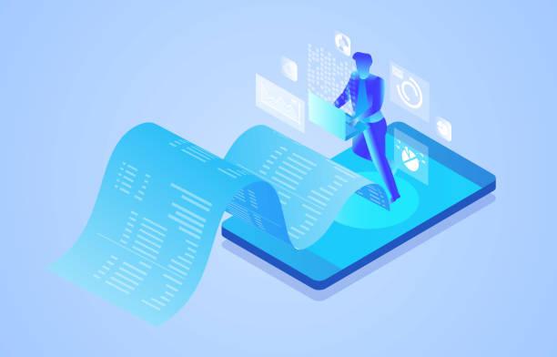Smartphone electronic billing, online intelligent data analysis and management vector art illustration