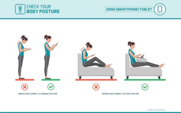 Smartphone ergonomics Smartphone and tablet ergonomics: how to use mobile devices correctly when standing and sitting, posture correction posture stock illustrations