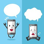 Smartphone expressing different emotions with white speech bubbles