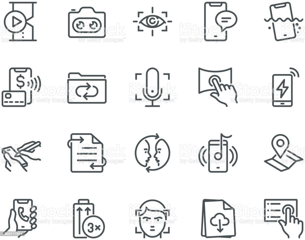 Smartphone Features Icons,  Monoline concept vector art illustration