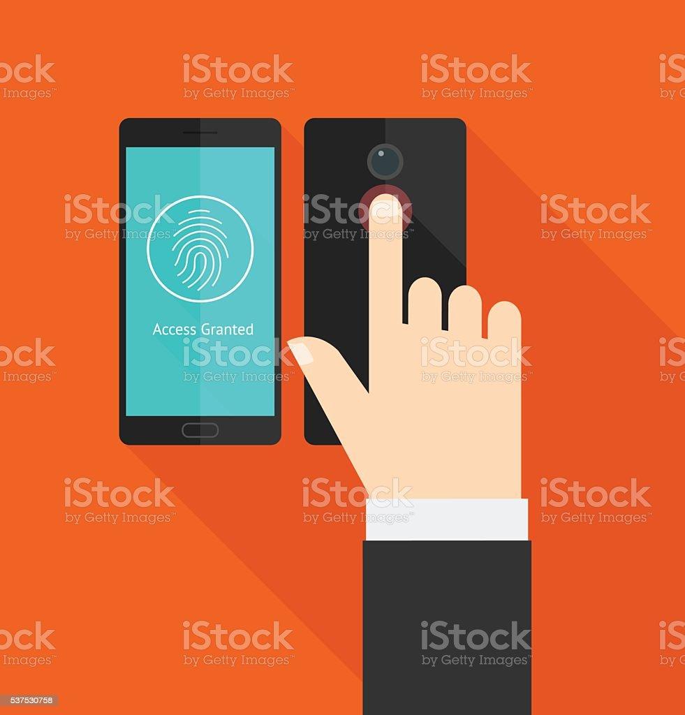 Smartphone fingerprint scanner access vector art illustration