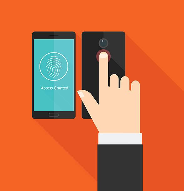 スマートフォンの指紋スキャナーのアクセス - id盗難点のイラスト素材/クリップアート素材/マンガ素材/アイコン素材
