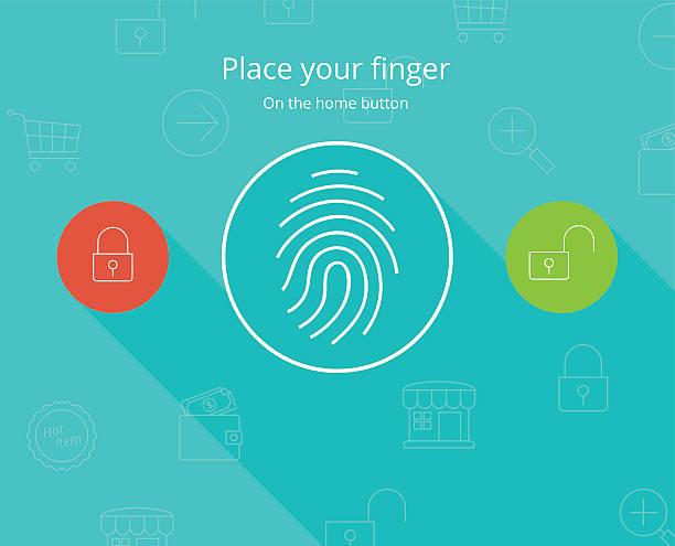 スマートフォンの指紋セキュリティアクセスをご利用いただけます。 - id盗難点のイラスト素材/クリップアート素材/マンガ素材/アイコン素材