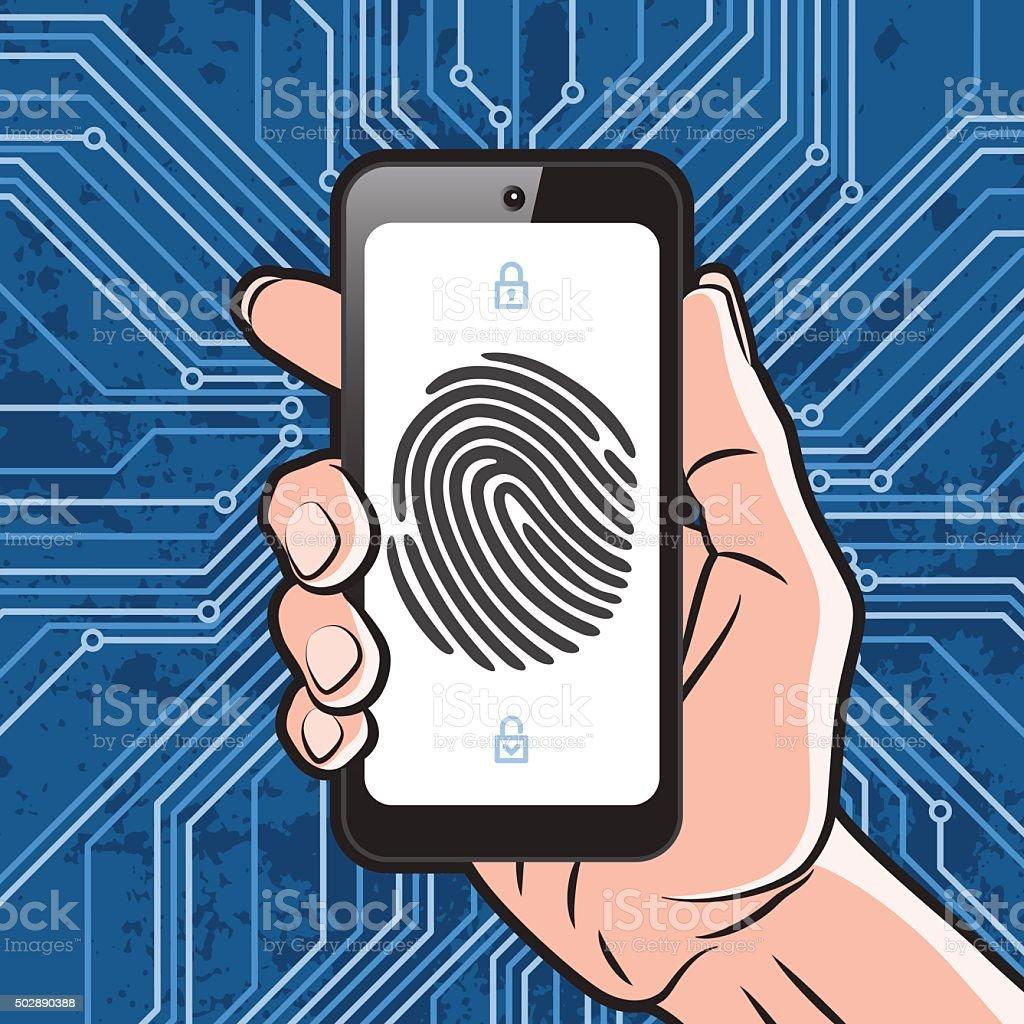 Smartphone fingerprint security vector art illustration