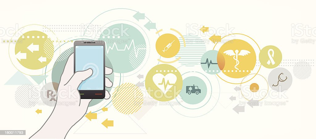 Smartphone for healthcare royalty-free stock vector art