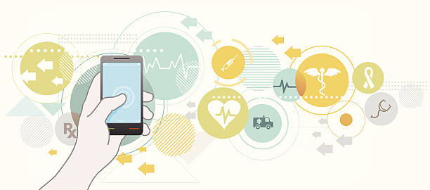 smartphone for healthcare - medical equipment stock illustrations, clip art, cartoons, & icons