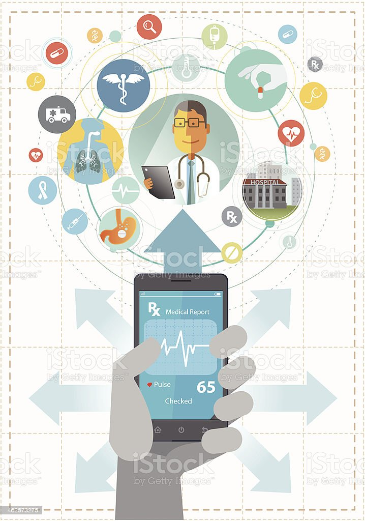 Smartphone for healthcare vector art illustration