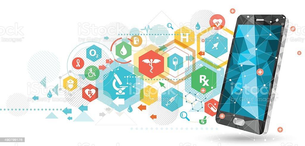Smartphone para saúde - ilustração de arte em vetor