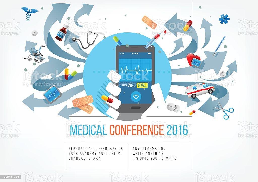 Smartphone for medical vector art illustration