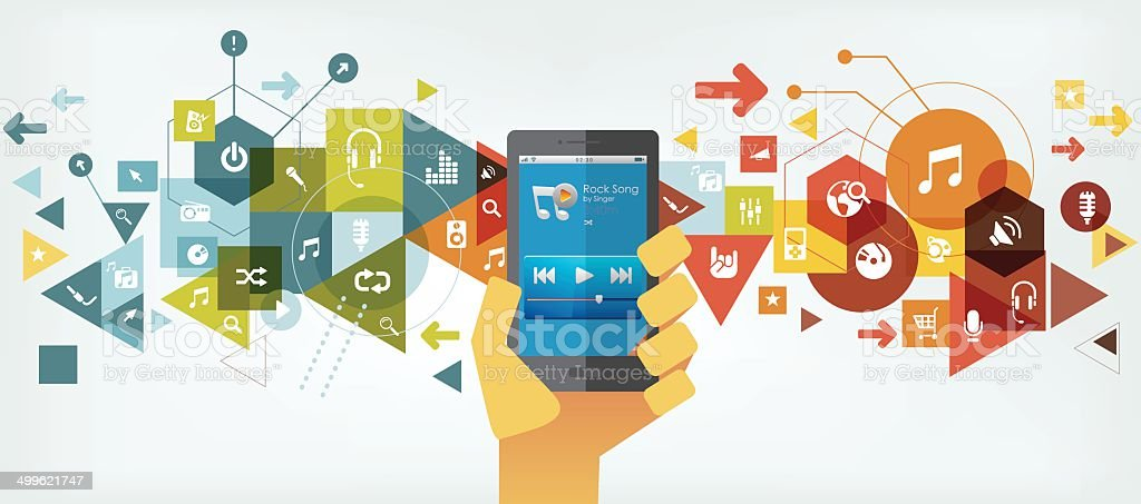 Smartphone for music vector art illustration