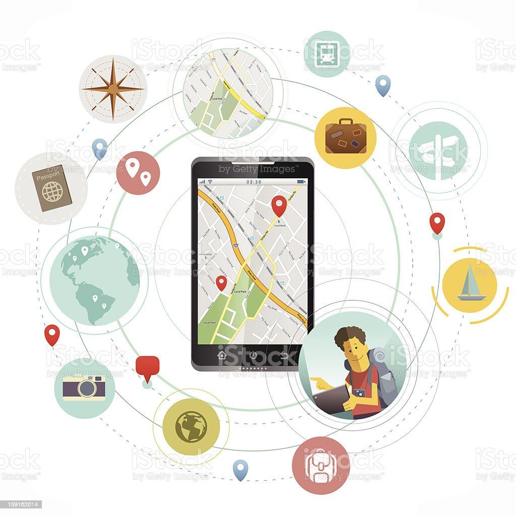 Smartphone for travelers vector art illustration
