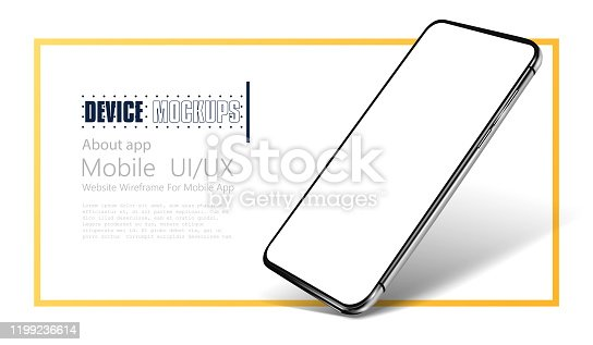 Smartphone frame less blank screen. Mockup generic device.  Realistic smartphone template mockup for user experience presentation.