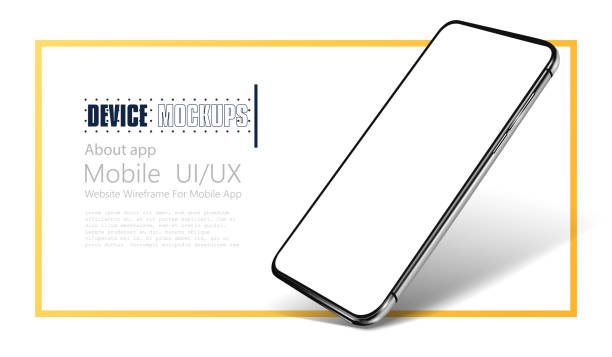 Smartphone frame less blank screen. Mockup generic device.  Realistic smartphone template mockup for user experience presentation. Mobile app mock-up vector illustration Smartphone frame less blank screen. Mockup generic device.  Realistic smartphone template mockup for user experience presentation. iphone stock illustrations