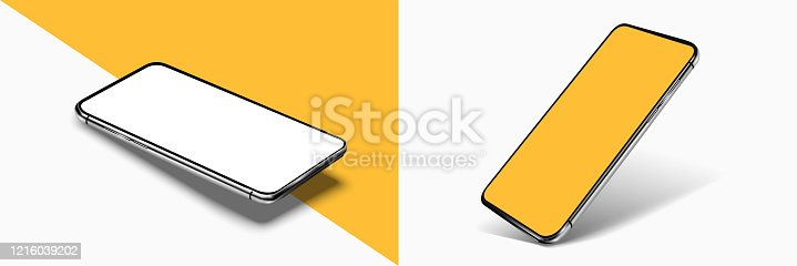 istock Smartphone frame less blank screen mockup, rotated position. 3d isometric illustration cell phone. Smartphone perspective view. Template for infographics or presentation UI/UX design interface. vector 1216039202
