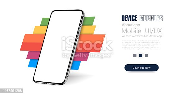Smartphone frame less blank screen, rotated position. 3d isometric cell phone. Smartphone perspective view. Template for infographics or presentation UI design interface.