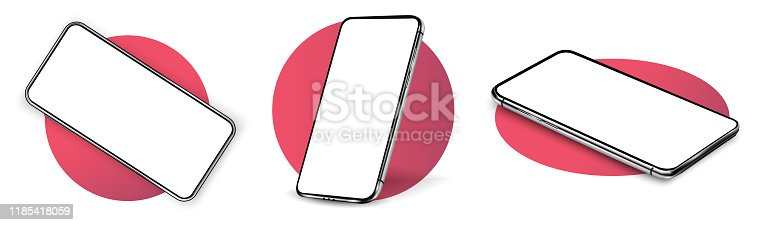 Smartphone frame less blank screen, rotated position. Smartphone from different angles. Mockup generic device. UI/UX smartphones set.