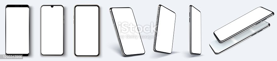 Smartphone frameless blank screen, rotated position. Smartphone from different angles. Mockup generic device. UI, UX smartphones set. Template for infographics or presentation 3D realistic phones