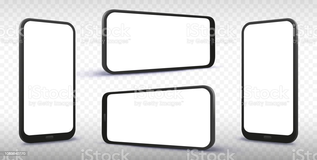 Smartphone From Different Angles and Perspectives with Transparent Background vector art illustration