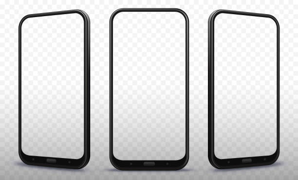 smartphone from different angles with transparent screens - angle stock illustrations