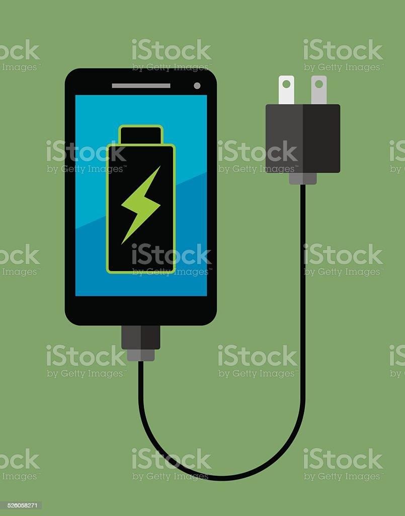 Smartphone Full Battery vector art illustration