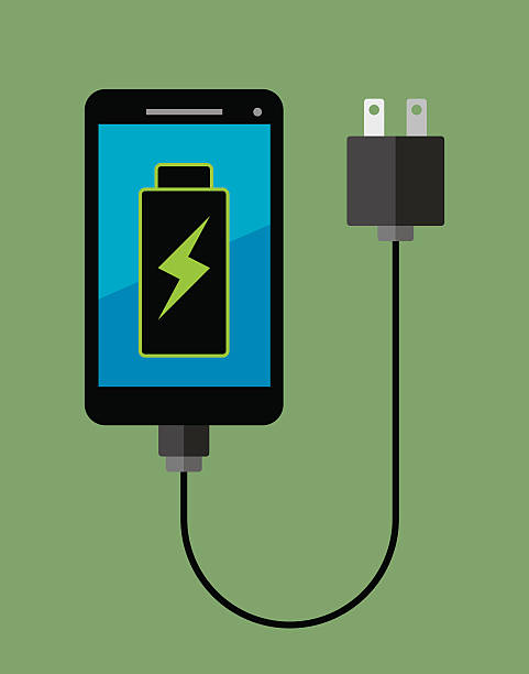 Smartphone Full Battery Vector illustration of a smartphone attached to a plug with a fully charged battery in flat style. cell phone charger stock illustrations