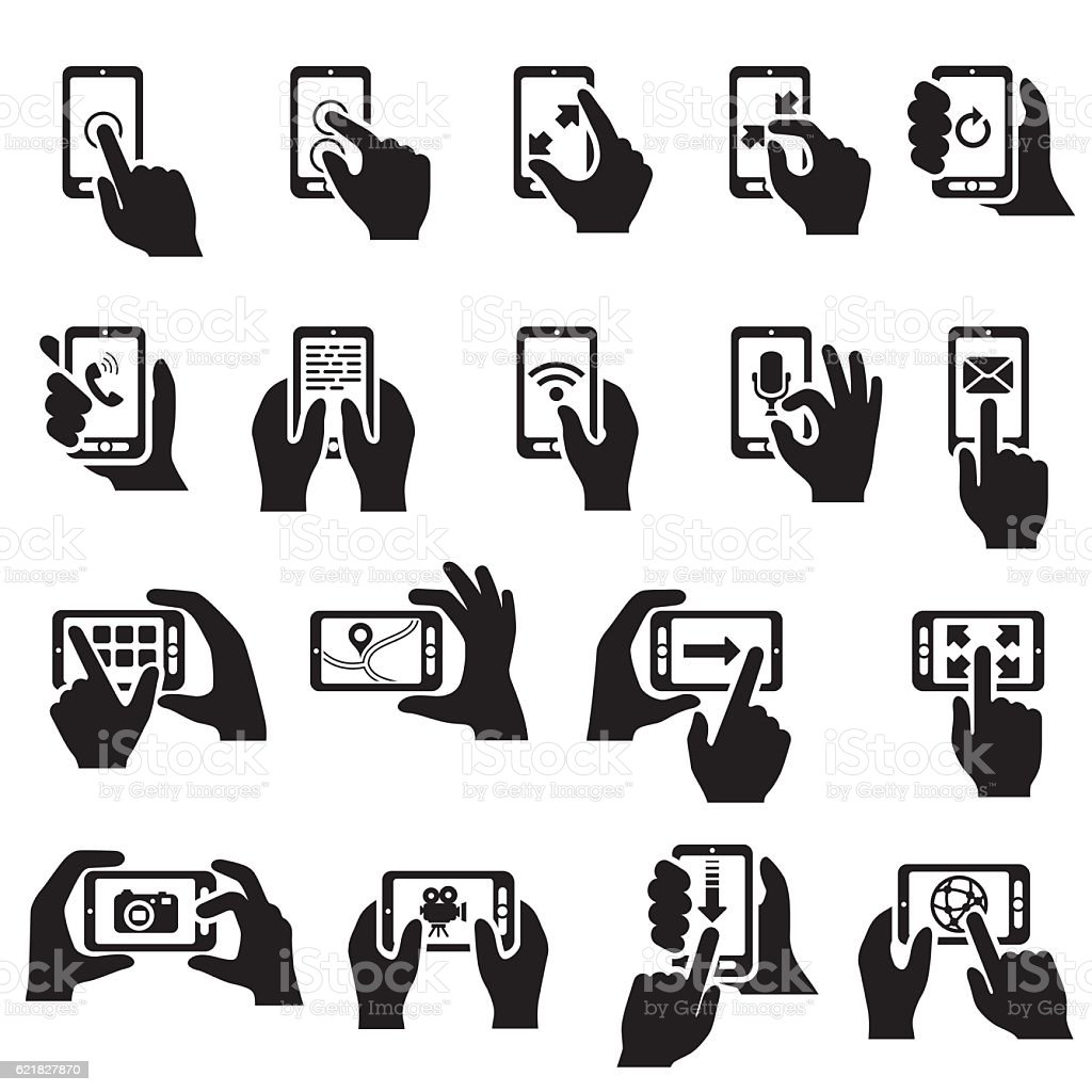Smartphone Functions Icon Set vector art illustration