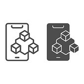 Smartphone graphics performance line and solid icon, smartphone review concept, mobile screen and three cubes sign on white background, phone graphics icon in outline style. Vector graphics