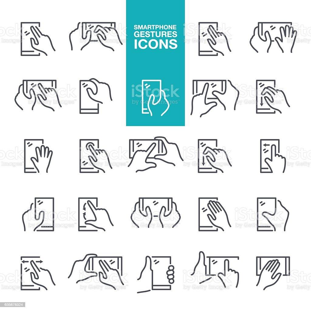 Smartphone hand gestures icons vector art illustration