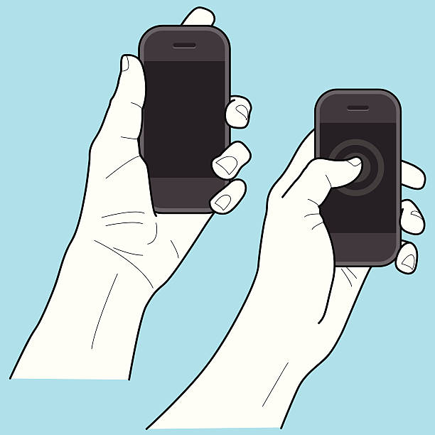 smartphone w ręce - hand holding phone stock illustrations