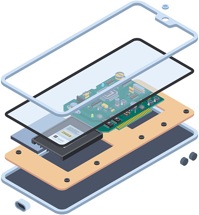 Smartphone hardware. Isometric layers of inside touch screen gadgets or tablet pc motherboard mobile vector repair service concept