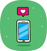 Vector illustration of a hand drawn smartphone with heart speech bubble against a green background.